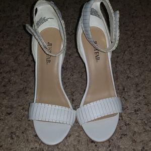 White open toe stilettos